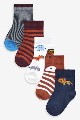 Next Boys Rust 5 Pack Character Socks (Younger) - Brown