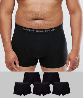 French Connection PLUS 5 Pack Black Boxers