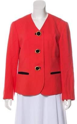 Albert Nipon Wool Button-Up Blazer