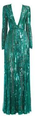 Elie Saab Women's Long Sleeve Deep V-Neck Sequin Gown - Seagreen - Size 44 (12)