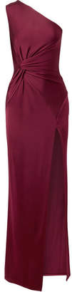 Cushnie et Ochs Denise One-shoulder Twist-front Satin-jersey Gown - Burgundy