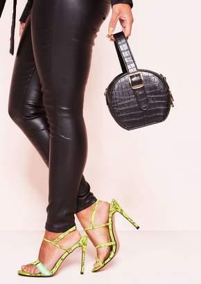 74b9dd86b7a0 Missy Empire Missyempire Stacey Black Faux Leather Croc Round Bag