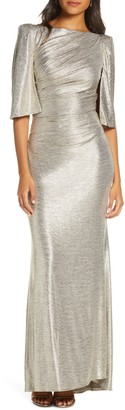Eliza J Capelet Sleeve Ruched Evening Gown