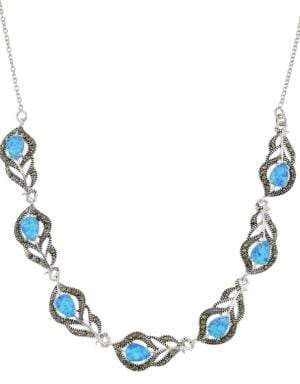 Lord & Taylor Sterling Silver and Faux Opal Feather Frontal Necklace