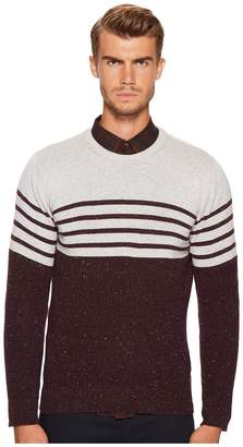 Eleventy Stripe Donegal Cashmere Crew Neck Men's Sweater