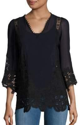 Janay Silk Lace Trim Blouse