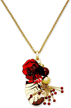 "Kate Spade Gold-Tone Acetate Flower, Bead & Leaf 28"" Pendant Necklace"