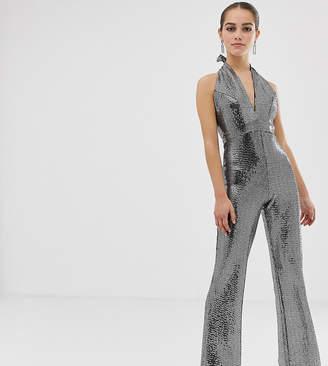 c13ad0794c3 John Zack Petite sequin glitter halterneck wide leg jumpsuit in silver