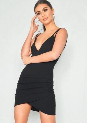 a5a1bd3e3ed503 Missy Empire Esther Black Double Strap Wrap Front Mini Dress