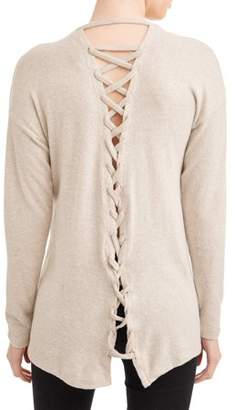 Poof! Juniors' Burshed Marled Long Sleeve Lace-Up Back Knit T-Shirt