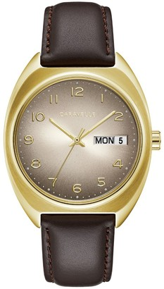 Caravelle Men's Leather Strap Watch
