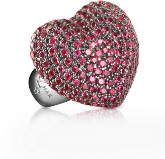 Ileana Creations Azhar Sterling Silver and Cubic Zirconia Big Heart Ring