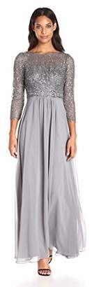 Decode 1.8 Women's 3/4 Sleeve Beaded Illusion Gown Sequins