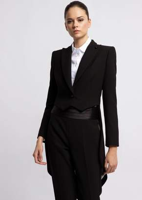 Emporio Armani Single-Breasted Crepe Tailcoat With Peak Lapels