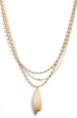Halogen Curved Metal Layered Chain Pendant Necklace