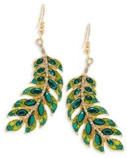 Natalie Leaf Crystal Dangle Earrings
