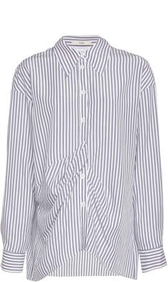 Tibi Stripe Draped Tencel Shirt