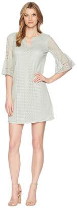 Adrianna Papell Vintage Striped Lace Shift Dress Women's Dress