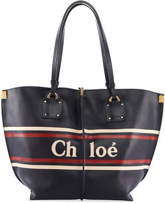 Chloé Vick Striped Logo Leather Tote Bag
