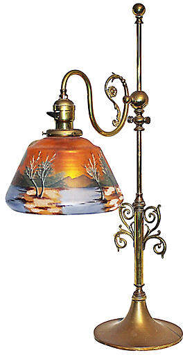 One Kings Lane Vintage Reverse-Painted Brass Desk Lamp - House of Charm Antiques