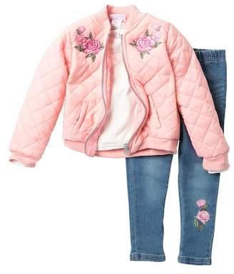 Nicole Miller Top, Quilted Bomber Jacket & Jeggings Set (Toddler Girls)