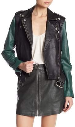 Muu Baa Muubaa Colorblock Leather Biker Jacket