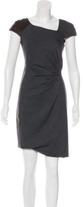J. Mendel Leather-Trimmed Sheath Dress