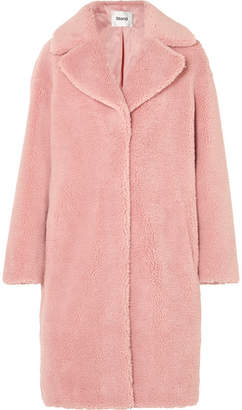 STAND Camille Faux Shearling Coat - Baby pink