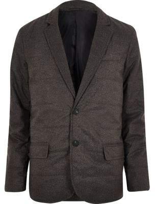 River Island Dark grey padded quilted slim blazer
