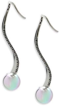Majorica Women's Faux Pearl, Crystal and Sterling Silver Dangle Earrings