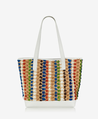 GiGi New York Baja Tote, White Pom Pom Raffia with Pebble Grain