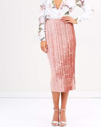 Missguided Pleated Velvet Midi Skirt