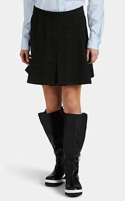 PLAN C Women's Checked Wool Knee-Length Skirt - Dk. Green