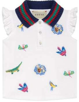 Gucci Baby embroidered piquet polo