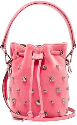 Fendi My Secrets crystal-embellished velvet bucket bag