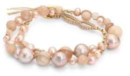 Chan Luu 4-8MM Pink Pearl& Sunstone Double-Wrap Bracelet