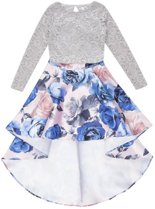 Speechless Girls 7-16 Two Piece Long Sleeve Lace Top Floral High-Low Skirt