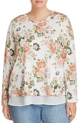 Bobeau B Collection by Curvy Floral Overlay Top