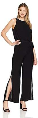 MSK Women's V-Neck Cocktail Jumpsuit with Drape Back and Rhinestone Trim