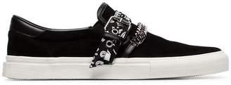Amiri black Bandana chain strap slip-on suede sneakers