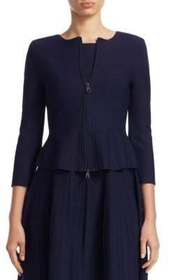 Emporio Armani Zip-Front Pointelle Peplum Jacket