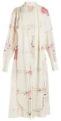 Loewe X Charles Rennie Mackintosh Rose Print Wool Dress - Womens - Ivory Multi