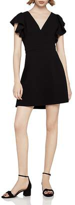 BCBGeneration Ruffle-Sleeve Fit-and-Flare Dress