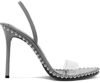 Alexander Wang Nova Studded Leather And Pvc Slingback Sandals - Gray