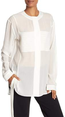 Theory Striped Button Down Silk Blouse