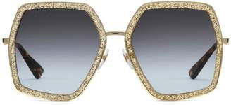 Gucci Oversized metal framed sunglasses