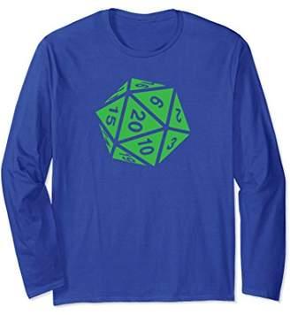 d20 Dice RPG Shirt Long Sleeve   Acid Green Design