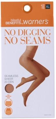 Warner's Blissful Benefits by No Digging, No Seams Sheer Pantyhose, 1 Pair