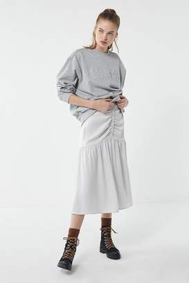 Urban Outfitters Nicole Ruched Button-Front Midi Skirt