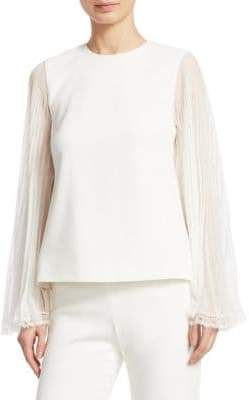 Jonathan Simkhai Lace Pleat-Sleeve Blouse